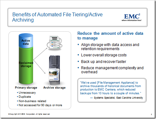 Benefits of Automated File Tiering/Active Archiving